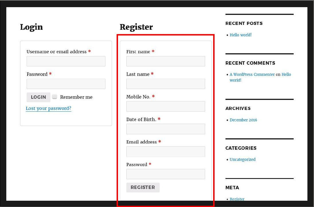 Add DOB and Mobile No  field to WooCommerce Registration